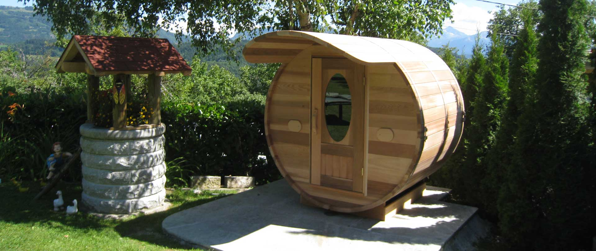 sauna bulle ext rieur en bois de c dre annecy atelier. Black Bedroom Furniture Sets. Home Design Ideas